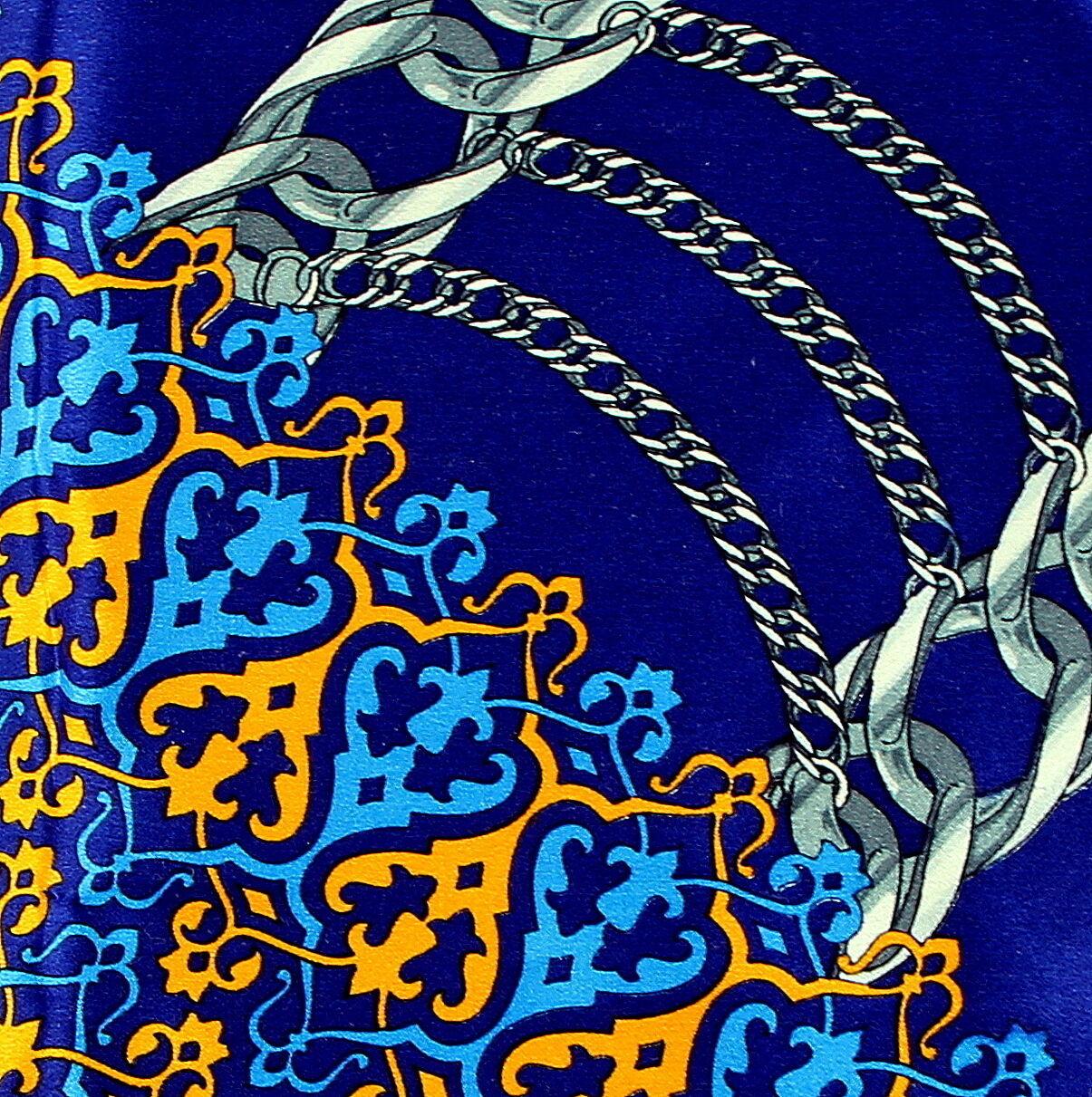 Men's Pocket Square Handkerchief Wedding Fashion Dress Chain Silk Blue Hanky