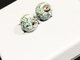 Authentic Christian Dior LIMITED EDITION GREEN MARBLE Tribal Pearl Earrings RARE image 2