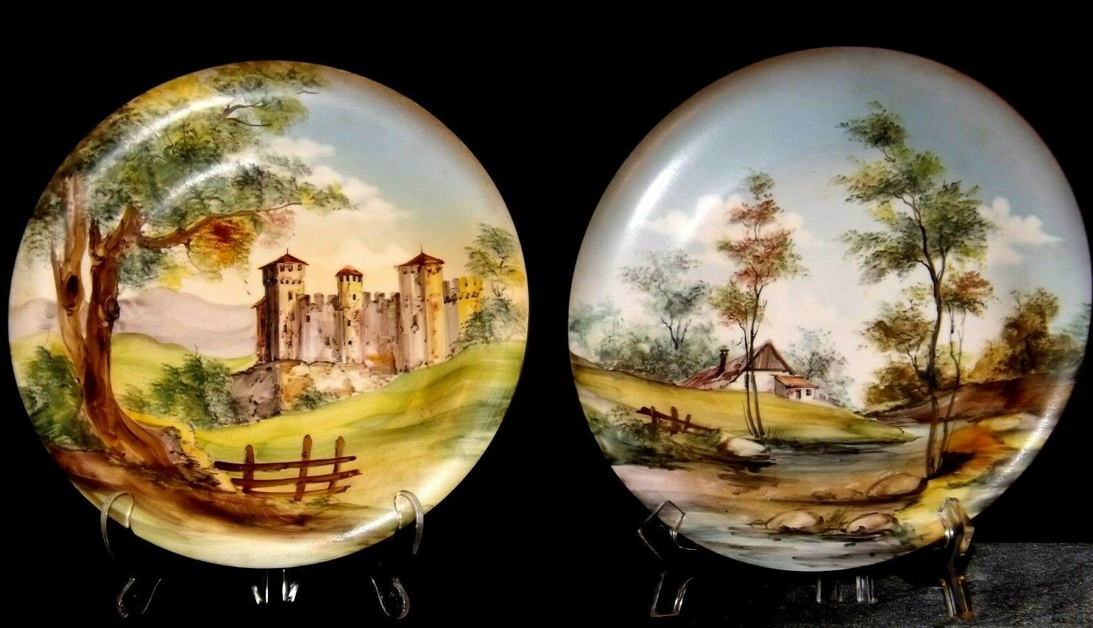 Bellagio Painted Italy Plates 10 inch AA19-1642 Vintage Pair