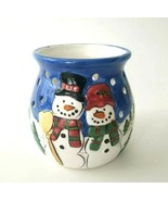 """Snowman Winter Holiday Christmas Votive Candle Holder Snow Trees...3.75"""" H  - $9.75"""
