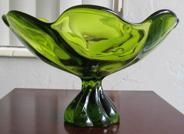 Vintage VIKING Emerald Green Depression Pressed Glass Large Mid-Century Table Di - $89.99
