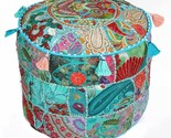 """17"""" Turquoise Blue Handcrafted Round Stool/Ottoman Pouf Cover Seating Pouffe"""