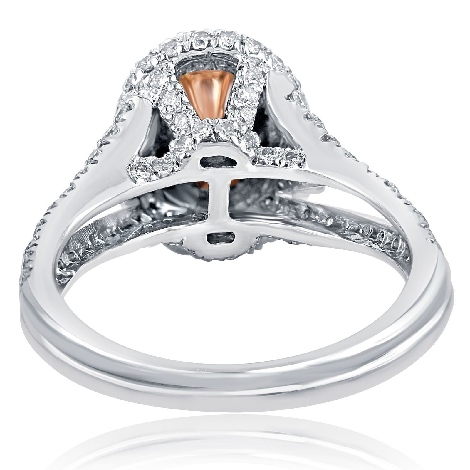 2.01 TCW Oval Cut Brownish Yellow Diamond Engagement Halo Ring 18k White Gold Sp