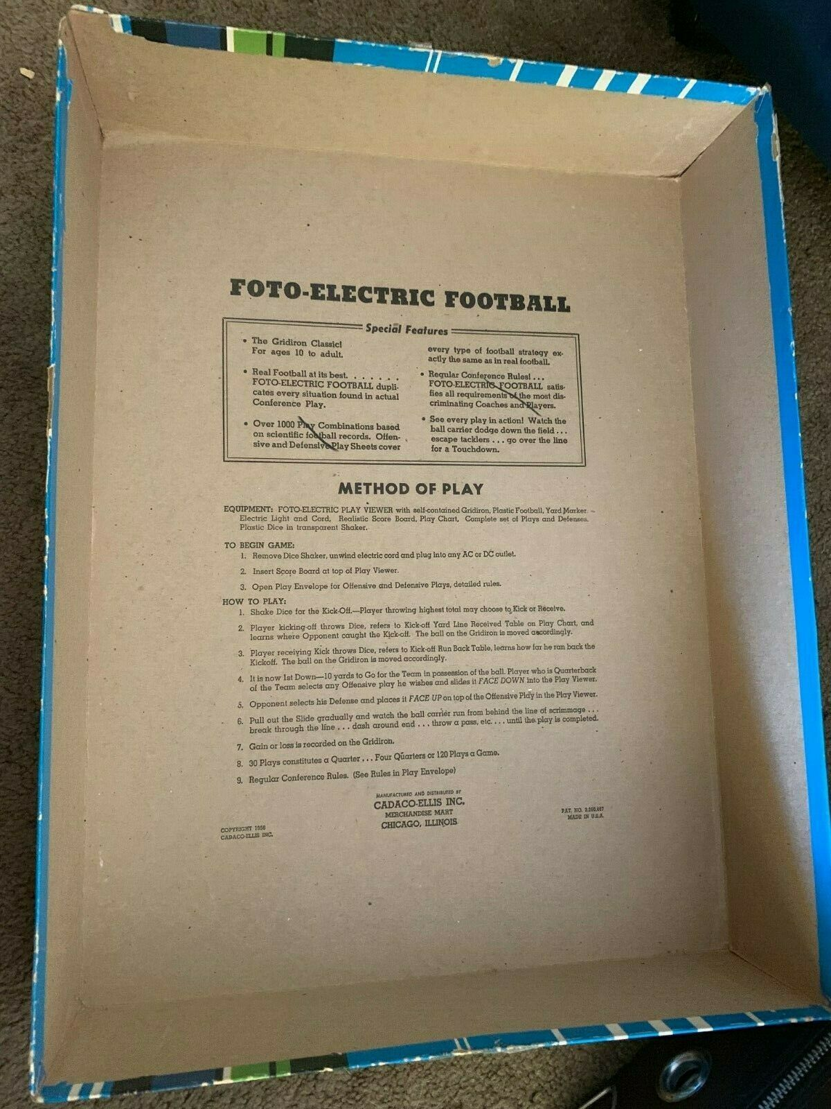 1956 Cadaco Foto-Electric Football Board Game In Box light works image 4