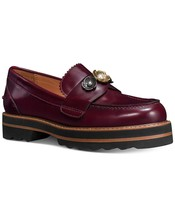Coach Women's Slip On Platform Leather Fashion Shoes Lenox Loafer Cabernet