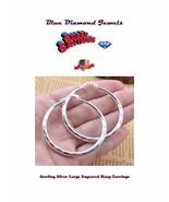 HOOPS Large Engraved Hoop Fashion Earrings  Silver Plate CHEAP US SELLER ! - $7.50