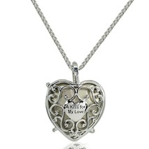 "Bermuda Blue Criss Cross Engraved ""A Kiss for My Love"" Heart Necklace ma... - $137.11"