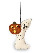 Bethany Lowe Halloween Ghost With Pumpkin Jack O Lantern Fabric Ornament Decor - $4.95
