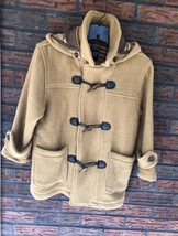 Gap Tan Wool Jacket Small Size 5/6 Zipper Leather Buttons Detachable Hoo... - $19.80