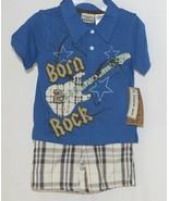 Little Rebels Boys Two Piece Born 2 Rock Shirt Shorts Outfit 12 Months - $14.99