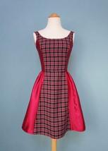 Red Plaid Dress - 50s Style - Plaid Dress - FREE SHIPPING - $54.00