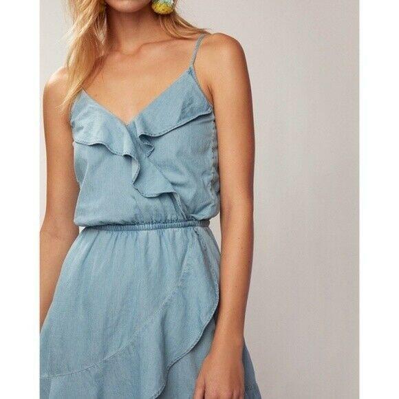 Express Denim Ruffle Front Dress image 2