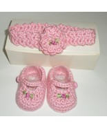 Crochet Newborn Baby Girl Shoes Headband pink Handcrafted shower gift H31  - $27.77