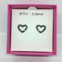 Betsey Johnson Black Open Frame Heart Stud Earrings With Iridescent Crys... - $18.69