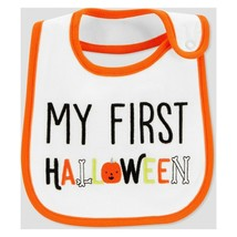 Carter's Teething Water Resistant Bib MY FIRST HALLOWEEN Pumpkin Bones C... - $5.93