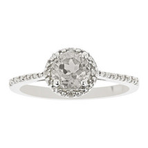 WHITE TOPAZ DIAMOND ENGAGEMENT HALO RING ROUND 6mm 925 SILVER 1.02 CARATS - £76.05 GBP
