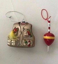 Fisherman Vest Bobble Ornaments Christmas Set of 2 Stream Dad Gift New OOAK - $24.24