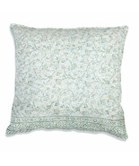 Farmhouse BLOSSOM COTTON EURO THROW PILLOW Country White Green Floral Cu... - £34.25 GBP