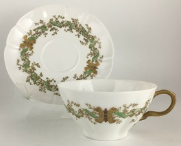 Haviland Limoges Cup & saucer Gold / Green - $15.00
