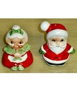 Vintage Japan -Mr & Mrs Claus 3in ceramic S&P shakers - $11.87