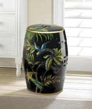 Ceramic Patio Stool, Side Table, Plant Stand Tropical Birds & Palm Leaves  - $91.03