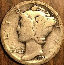 1925 UNITED STATES 10 CENTS MERCURY DIME COIN - $5.29
