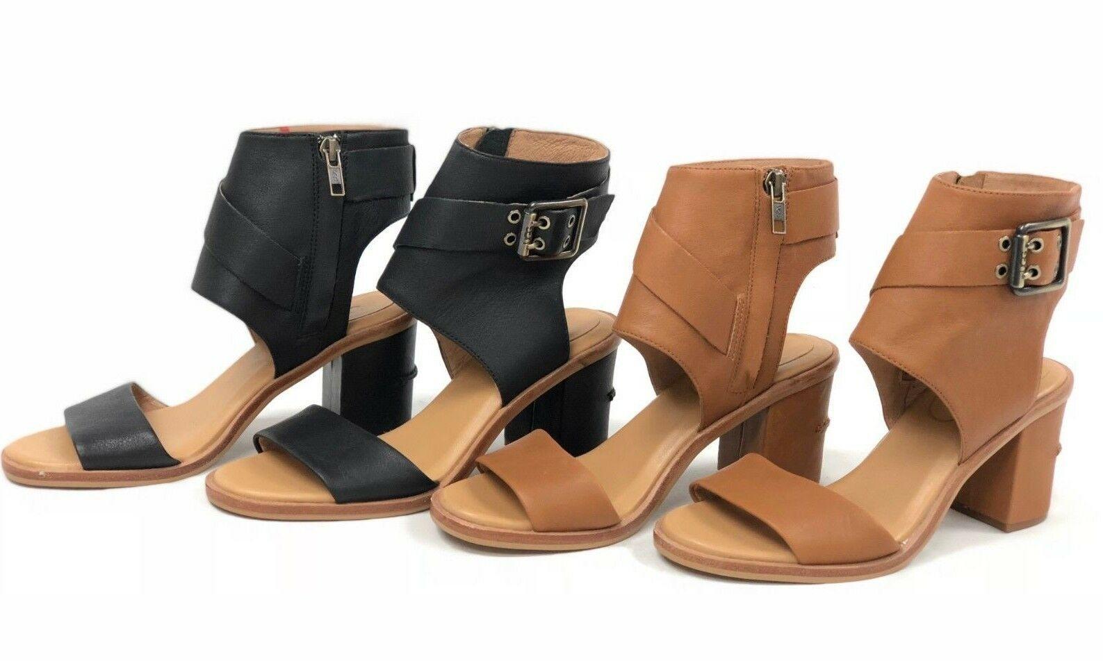 ef8405795 UGG Australia Claudette Leather Heeled Sandals Almond Black Side Buckle  1090433
