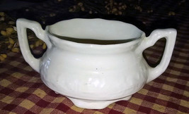 Vintage Solid White Embossed Floral Handled Homer Laughlin USA Sugar Bowl - $3.96