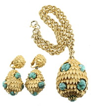 Vintage Hattie Carnegie Turquoise Venetian Murano Cabs Necklace  Drop Earrings - $449.99