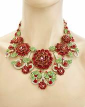 Red Roses Flower Floret Statement Bib Evening Necklace Earrings Set, Pageant - $60.80