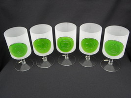 5 Vtg Wheaton Nuline Frosted Glass Wine or Water Stemware w/Applied Meda... - $44.99