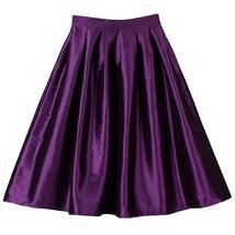 Dark Blue Glossy A Line Ruffle Skirt Women Taffeta High Waist Pleated Midi Skirt image 4