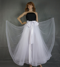 Slit Tulle Skirt Bridal Over Skirt White Layered Slit Open Skirt Wedding Outfits image 4