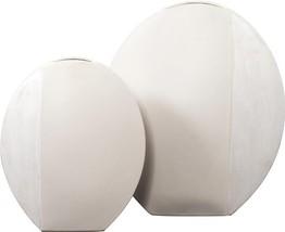 Vase Howard Elliott Matte White Textured Set 2 Ceramic New - $159.00