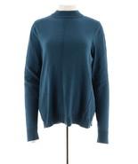 Denim & Co Essentials Mock Neck Sweater Seamings Mallard Blue M NEW A282449 - $24.73