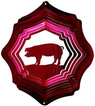 12 in stainless steel Raspberry Pig USA 3D hanging yard wind spinner, spinners - $32.00