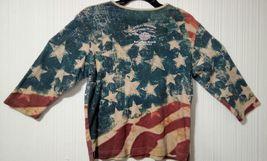 Harley Davidson Of Rehoboth Beach Delaware XL US Flag Womens embellished Blouse  image 3