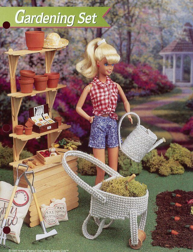 Gardening Set Wheelbarrow fits Barbie Doll Plastic Canvas Pattern Leaflet