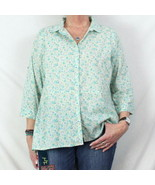 J Jill L sz Blouse Blue Green Floral Lightweight Top Womens Casual Cotto... - $19.79