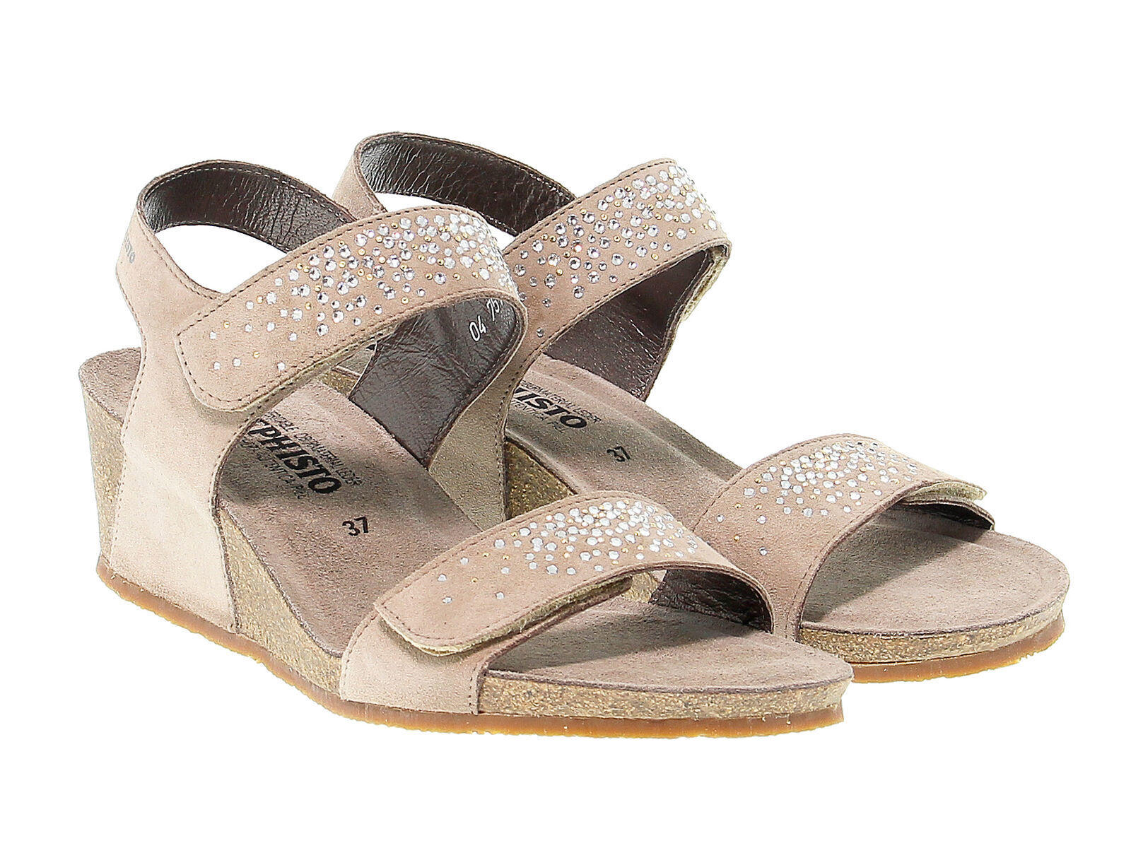 Heeled sandal MEPHISTO MARIA in taupe suede leather - Women's Shoes