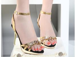 81S014 elegant strappy gold sandals  with gem & rhinestones, US Size 3-9, gold - $58.80