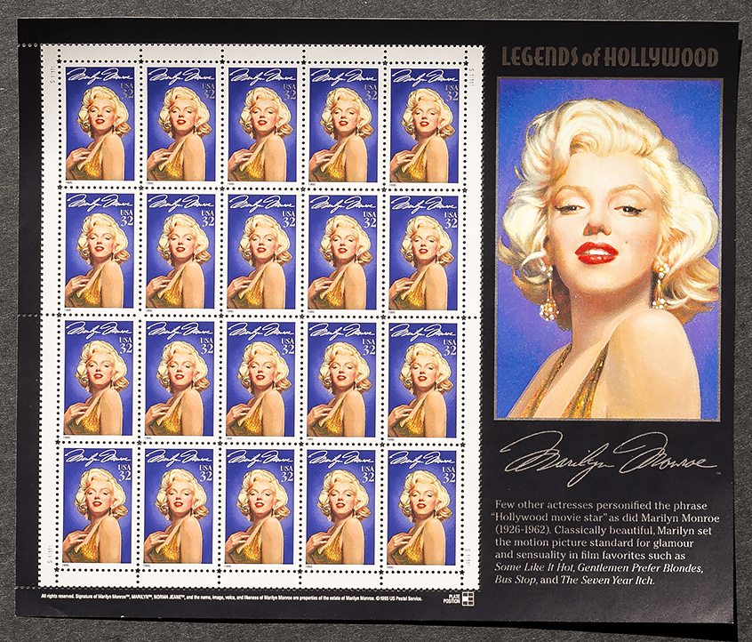 Marilyn Monroe, Sheet of 32 cent stamps, 20 stamps total