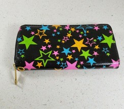 Black with Multi Color Neon Stars Wallet Clutch Purse - $16.00