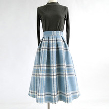 RED PLAID Women Midi Skirt Autumn Classic Plus Size Flannel Long Plaid Skirts image 7