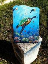 Sea Turtle hand painted Slate Painting nautical decor sea life animal - $63.63 CAD