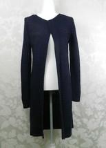 Ann Taylor Loft Long Cardigan Sweater Duster Size S Navy Open Front Cott... - $24.74