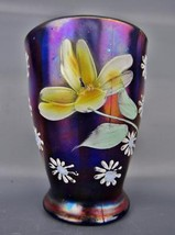 Carnival Glass - Enameled DAISY & LITTLE FLOWER Blue Hand Painted Tumble... - $38.25
