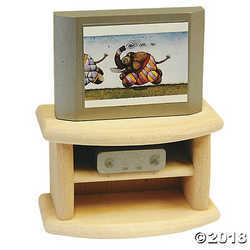 Wooden Dollhouse Television Set