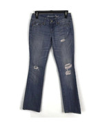 American Eagle Womens Jeans Size 00 Straight Leg Distressed Denim Light Wash - $17.35