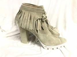 BCBG MAXAZRIA SHOES  suede gray white combat heel close Pumps Size: 11/41 - $28.04